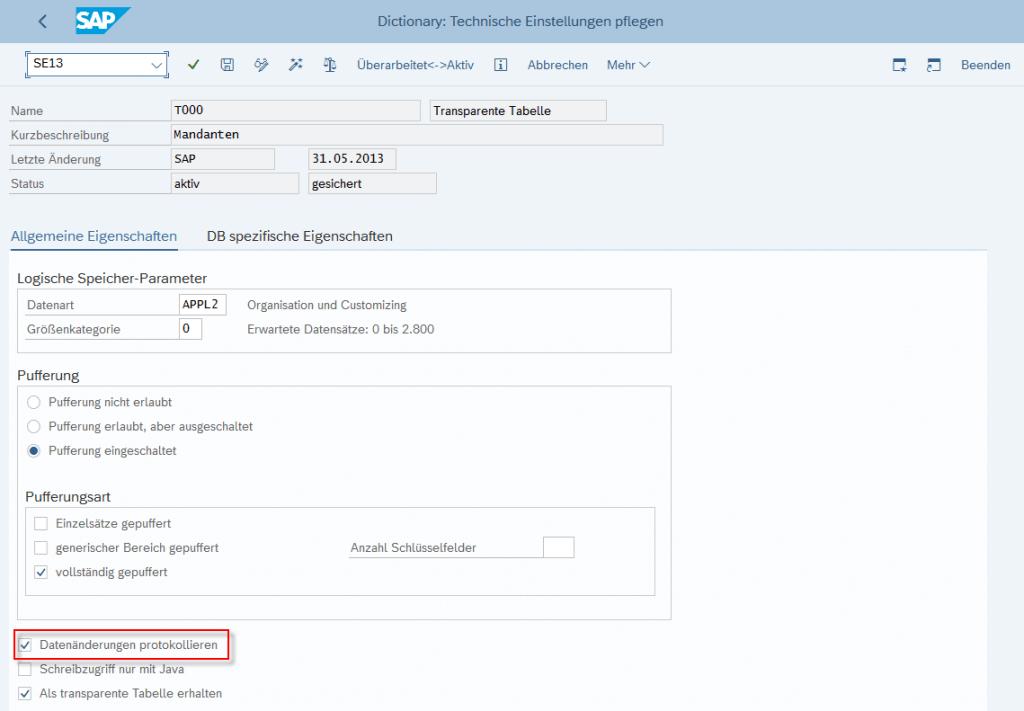 Protokollierung von Tabellenänderungen im SAP-System